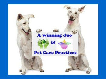 "Two dogs are Photoshopped to appear as though they're holding up a sign that reads, ""A winning duo and Pet Care Practices."" In between the text is an image of cupped green hands hold a green planet and a purple, yellow, green, and pink lotus flower noting spirit, body, mind, and balance."