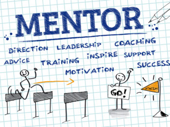 Graphic of the word mentor written on grid paper in blue and showing a stick figure running hurdles toward the finish line, while another stick figure cheers it on.