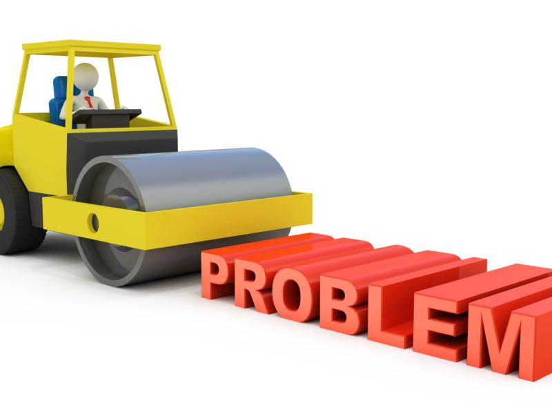 "Computer rendered graphic of a faceless person driving a steamroller over the three-dimensional word ""Problem."""