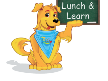 """Griffin the dog holds a chalkboard in his paw that reads, """"Lunch and learn."""""""