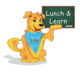 "Griffin the dog holds a chalkboard in his paw that reads, ""Lunch and learn."""