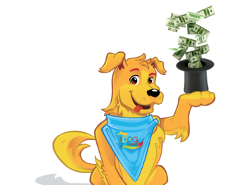 Griffin the dog holding a top hat with one-hundred-dollar bills coming out of it in his paw.