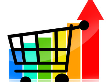 A black shopping cart in front of a multicolored bar chart.