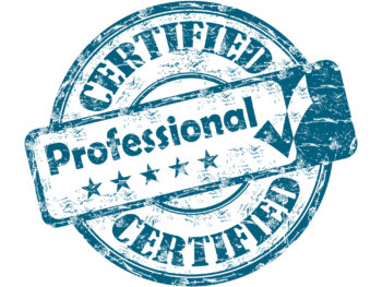 "Worn blue-and-white seal that reads, ""Certified Professional."""