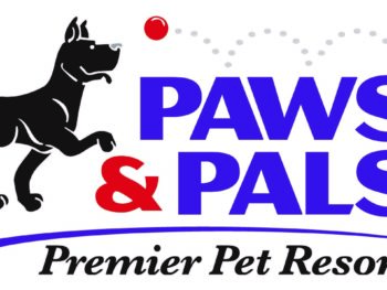 A purple, black, and red Paws and Pals: Premier Pet Resort logo.