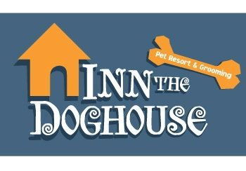 Blue, orange, and white logo for the Inn the Doghouse Pet Resort and Grooming company.