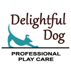 """A black, blue, and brown Delightful Dog logo with the words """"Professional Play Care"""" showcased."""