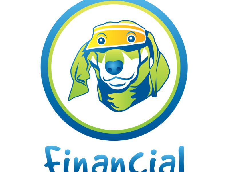 """A green and blue graphic with a dog wearing an accountant's visor in the center of a circle with the word """"financial"""" below it."""