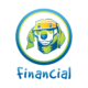"A green and blue graphic with a dog wearing an accountant's visor in the center of a circle with the word ""financial"" below it."