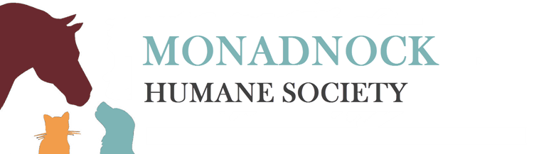 A brown, yellow, and blue logo for the Monadnock Humane Society and graphic outlines of a horse, cat, and dog.