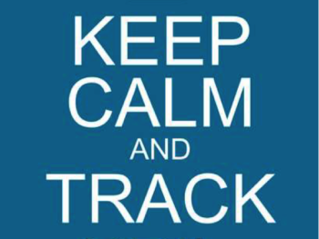 "A blue and white graphic depicting and a crown and the words ""Keep calm and track KPI's"" on it."