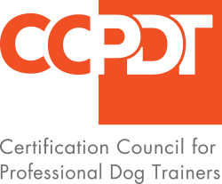 Orange and grey Certification Council for Professional Dog Trainers Logo.