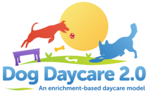 Red, purple, gold, and blue Dog Daycare 2.0 logo.