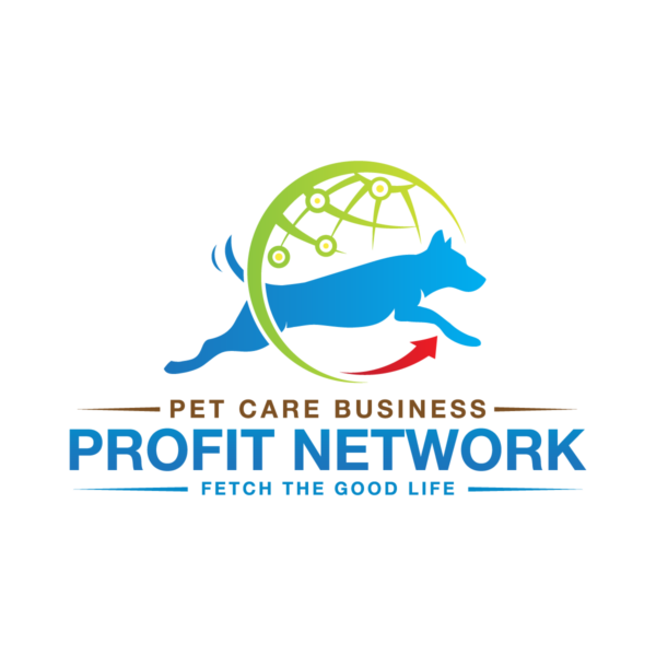 "Red, blue, green, and brown logo of dog jumping through a circle for the Pet Care Business Profit Network. The tagline reads, ""Fetch the Good Life."""
