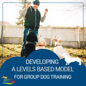 "A man in cold weather clothing holding the attention of three different dogs with treats in each of his hands. Below this image, there is text that reads, ""Developing A Levels Based Model for Group Dog Training."""