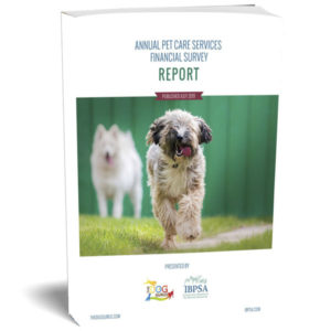 The 2019 Annual Pet Care Services Financial Survey Report book cover presented by The Dog Gurus and IBPSA.