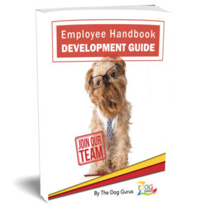 pet industry employee handbook cover written by the dog gurus.