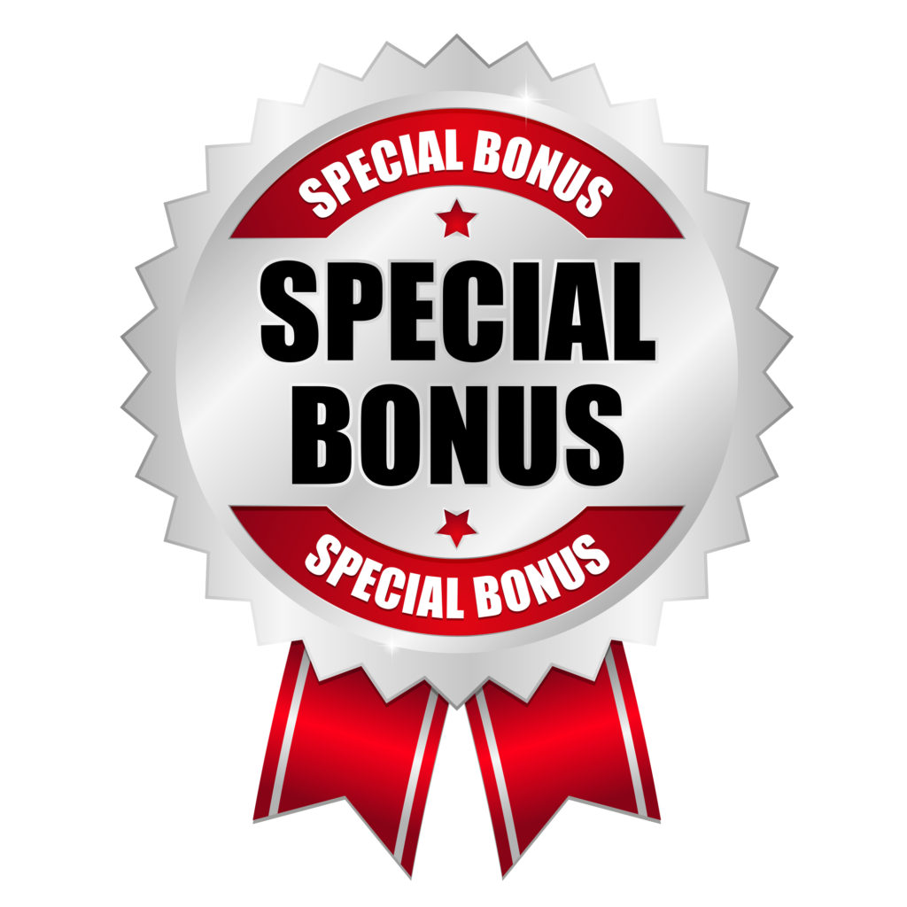 Silver, grey, and red special bonus ribbon.