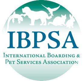Round green, white, and blue International Boarding and Pet Services Association logo.