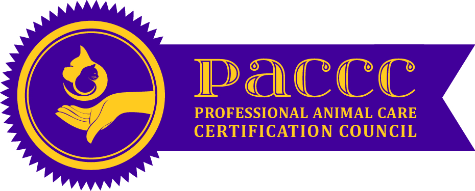 Purple and gold professional animal care certification council logo style like a seal and ribbon on an official document.