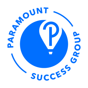 Blue paramount success group logo in a circle. A balloon cutout in the dark blue circle has a P on it.